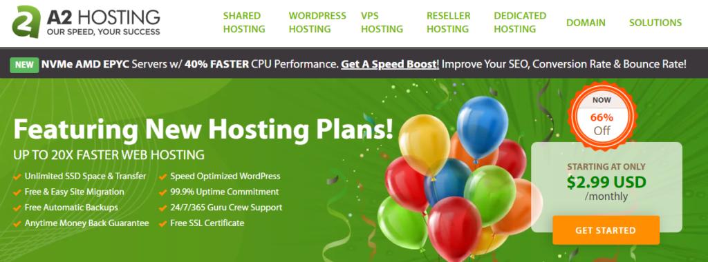 a2 hosting website page
